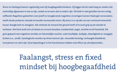 Faalangst, stress en fixed mindset bij hoogbegaafdheid